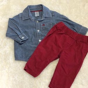 Carter's | Chambray Button Down & Red Pants 6M